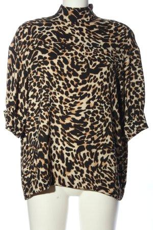 Zara Woman Stehkragenbluse Animalmuster Casual-Look