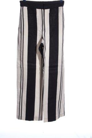 Zara Woman Stoffhose weiß-schwarz Streifenmuster Casual-Look