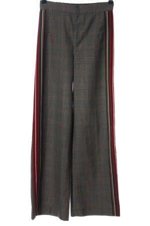 Zara Woman Stoffhose hellgrau-rot Karomuster Casual-Look