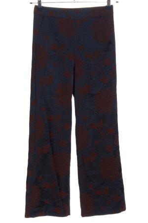 Zara Woman Stoffhose blau-rot Blumenmuster Casual-Look