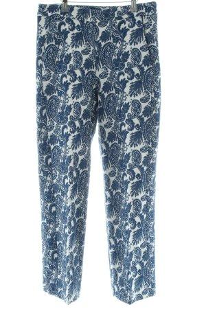 Zara Woman Stoffhose blau-weiß abstraktes Muster Casual-Look