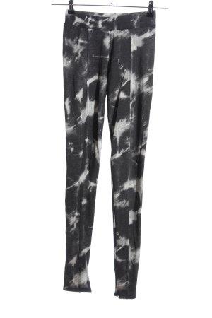 Zara Woman Stoffhose schwarz-hellgrau abstraktes Muster Casual-Look