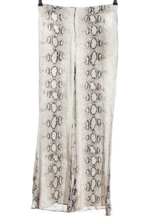 Zara Woman Stoffhose creme-braun Animalmuster extravaganter Stil