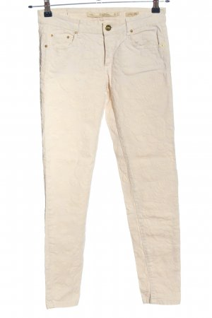 Zara Woman Stoffhose wollweiß grafisches Muster Casual-Look