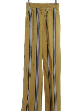Zara Woman Stoffhose sandbraun-schwarz Streifenmuster Street-Fashion-Look