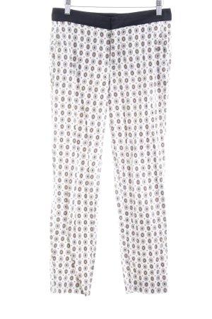 Zara Woman Stoffhose wollweiß-kornblumenblau Allover-Druck Casual-Look