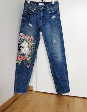 Zara Woman Jeansy z prostymi nogawkami niebieski Bawełna