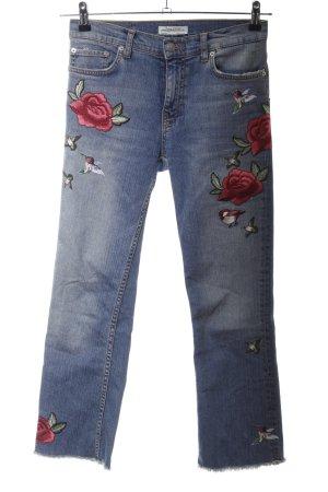 Zara Woman Jeansy z prostymi nogawkami niebieski Wzór w kwiaty W stylu casual