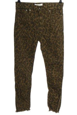 Zara Woman Stretchhose braun-schwarz Leomuster Casual-Look