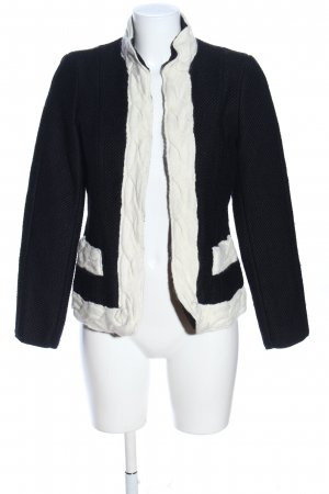 Zara Woman Strickjacke schwarz-wollweiß Webmuster Casual-Look
