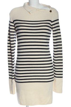 Zara Woman Strickkleid creme-schwarz Streifenmuster Casual-Look