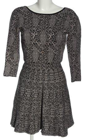 Zara Woman Strickkleid schwarz-wollweiß Allover-Druck Casual-Look