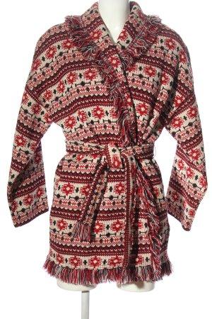 Zara Woman Strickmantel Allover-Druck Casual-Look