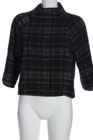 Zara Woman Strickpullover schwarz-hellgrau Karomuster Casual-Look