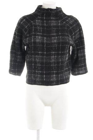 Zara Woman Strickpullover schwarz-weiß Karomuster Casual-Look