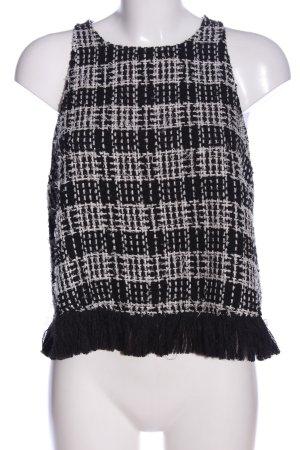 Zara Woman Gebreide top zwart-wit geruite print casual uitstraling