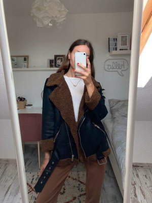 Zara Woman stylische Oversized Biker Jacke mit Teddyplüsch M/38