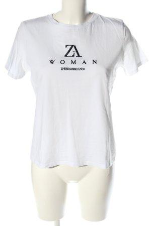 Zara Woman T-Shirt weiß-schwarz Schriftzug gedruckt Casual-Look