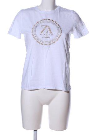 Zara Woman T-Shirt weiß-goldfarben Motivdruck Casual-Look
