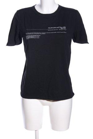 Zara Woman T-Shirt schwarz-weiß Schriftzug gedruckt Casual-Look