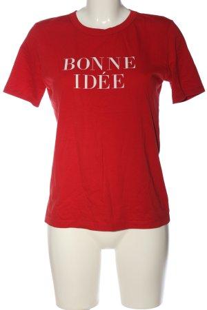Zara Woman T-Shirt rot-weiß Schriftzug gedruckt Casual-Look