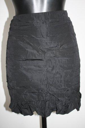 Zara Woman Taftrock Pencilrock mit Falten Rüsche neu mit Etikett schwarz L XL
