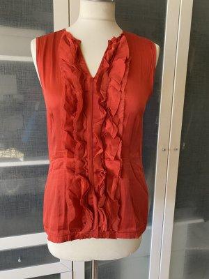 Zara Woman Top mit Volants tomatenrot Gr. M