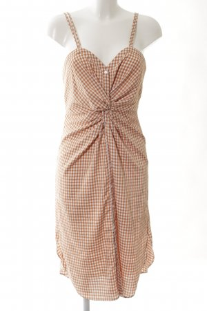 Zara Woman Trägerkleid creme-hellorange Karomuster Casual-Look
