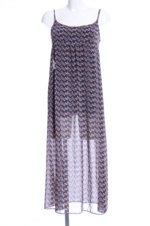 Zara Woman Abito scamiciato lilla-blu stampa integrale stile casual