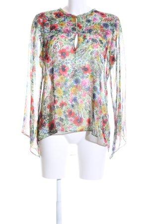 Zara Woman Transparenz-Bluse Blumenmuster Casual-Look