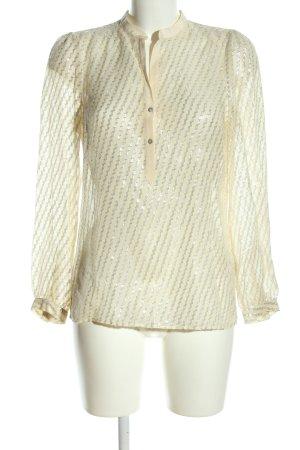 Zara Woman Transparenz-Bluse wollweiß-silberfarben Streifenmuster Elegant