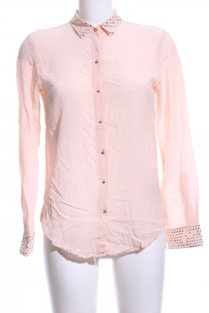 Zara Woman Transparenz-Bluse pink Punktemuster Business-Look