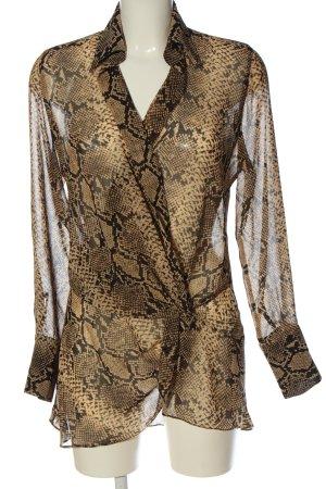 Zara Woman Transparenz-Bluse braun Allover-Druck extravaganter Stil