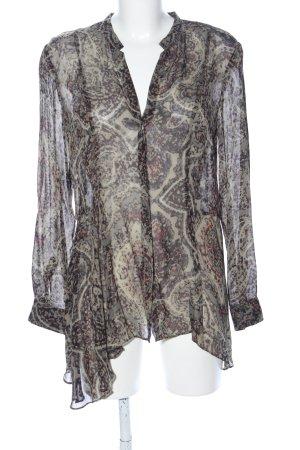 Zara Woman Transparenz-Bluse schwarz-khaki abstraktes Muster Casual-Look