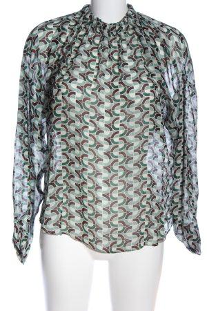 Zara Woman Transparenz-Bluse türkis-braun Allover-Druck Elegant