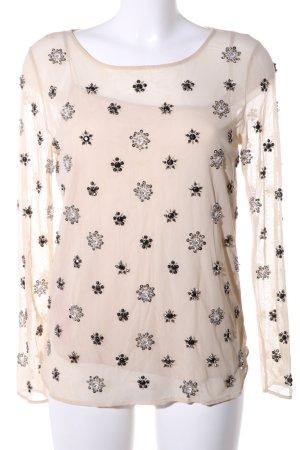Zara Woman Transparenz-Bluse wollweiß-schwarz Blumenmuster Elegant