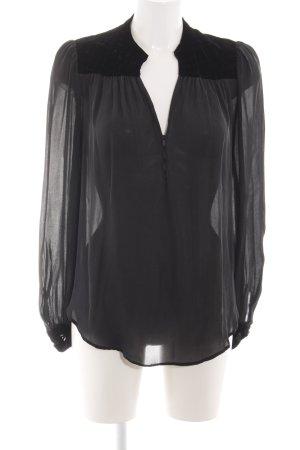 Zara Woman Transparenz-Bluse schwarz Business-Look