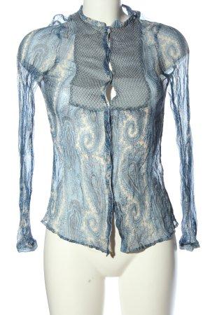 Zara Woman Transparenz-Bluse blau-weiß abstraktes Muster extravaganter Stil