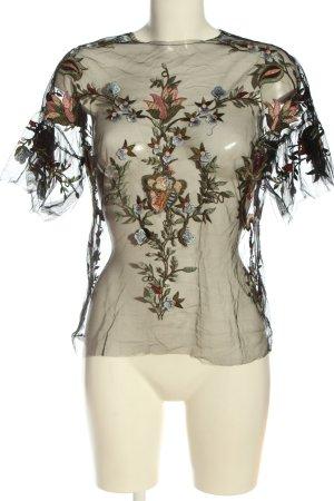 Zara Woman Transparenz-Bluse schwarz-khaki Blumenmuster Elegant