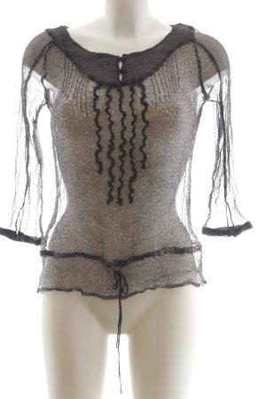Zara Woman Transparenz-Bluse hellgrau-schwarz Leomuster extravaganter Stil