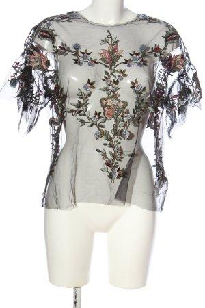 Zara Woman Transparenz-Bluse khaki-nude Blumenmuster extravaganter Stil