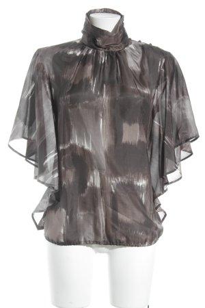 Zara Woman Transparenz-Bluse taupe-wollweiß Mustermix minimalistischer Stil