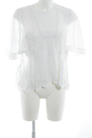 Zara Woman Transparenz-Bluse weiß Romantik-Look