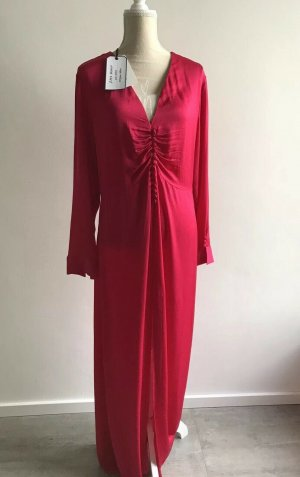 Zara Woman TRAUM Kleid Maxikleid Satin Abendkleid Viskose fuchsia XL 40 42 44