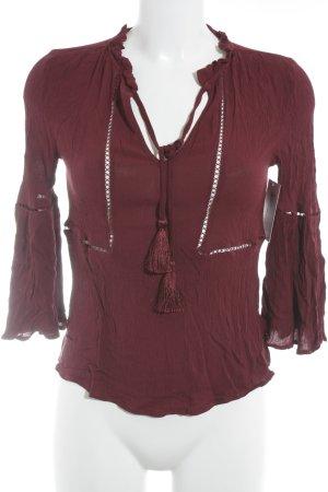 Zara Woman Tunikabluse dunkelrot Boho-Look
