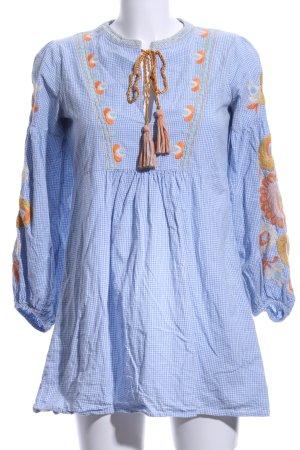 Zara Woman Tunikabluse himmelblau-hellorange Boho-Look