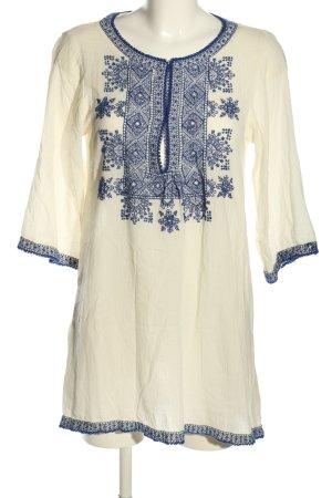 Zara Woman Sukienka tunika kremowy-niebieski Graficzny wzór W stylu casual