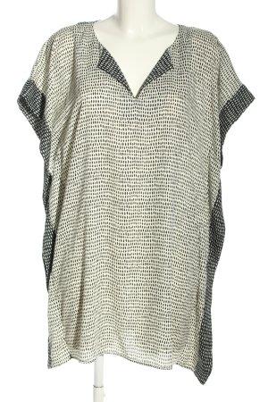 Zara Woman Sukienka tunika w kolorze białej wełny-czarny Na całej powierzchni