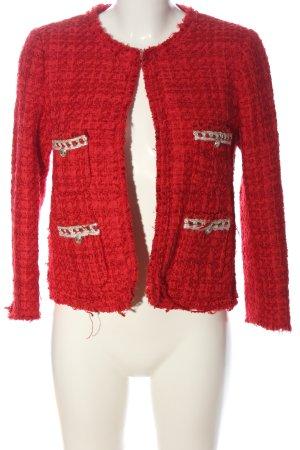 Zara Woman Tweed blazer rood zakelijke stijl