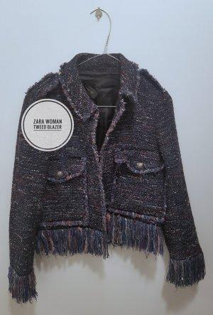 Zara Tweed Blazer brown violet-dark blue